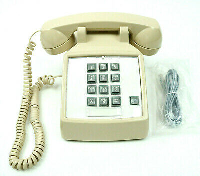 Vintage Phone Cortelco Itt 250044-vba-20f Rj-11 Cream Beige Tan Desk Corded Usa