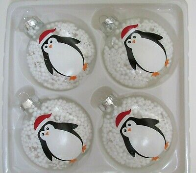 Set of 4 Penguin Christmas Ornaments Glass Snow Globe
