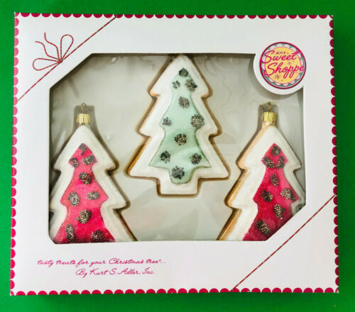 3 frosted SUGAR COOKIE TREES * GLASS ORNAMENTS * * NIB Kurt Adler SWEET SHOPPE
