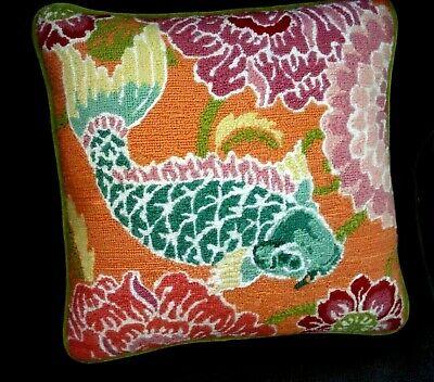Handmade Needlepoint Koi Fish Pillow Beautiful Colors Green Velvet 13