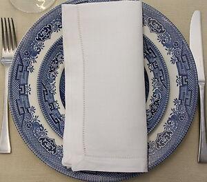 6x-100-Linen-Dinner-Napkins-20-x20-50x50cm-HEMSTITCH-TABLE-LINEN