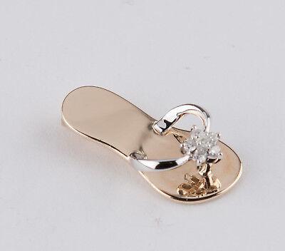 14K Gold Charm Pendant Beach Sandal Slipper Flip Flop With Diamond Accent