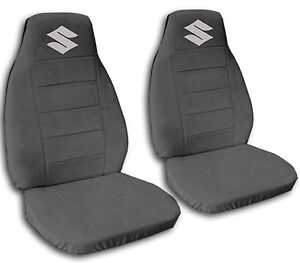 nice suzuki samurai charcoal cotton front car seat covers with S logo ,MORE AVBL