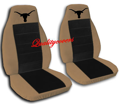 Brown and Black Longhorn Seat Covers Ford F-150 Captain Chairs with One Armrest ()