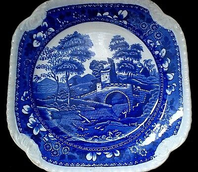 COPELAND SPODE'S TOWER Rd No 9006 Blue/White Square 8 5/8 inch Plate c1900?