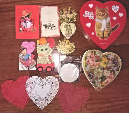 vtg VALENTINES Day Lot~Kitty HEART BOX Fannie May/Cards/PAPER DOILIES/Merrimack
