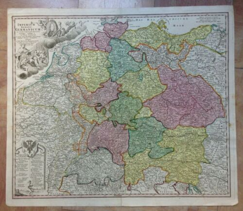 EMPIRE OF GERMANY 1720 JB HOMANN LARGE ANTIQUE ENGRAVED MAP 18TH CENTURY