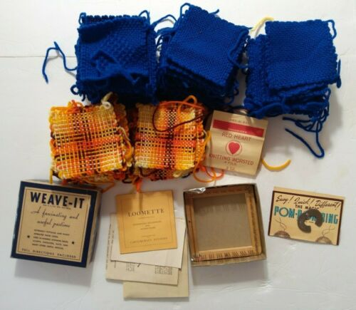 Vintage Weave-It Hand Weaving Loom & Instructions 100+ Squares Lot USA