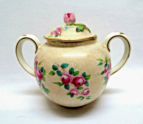 Crown Staffordshire England Pink Roses Bone China Sugar Bowl w/ Lid