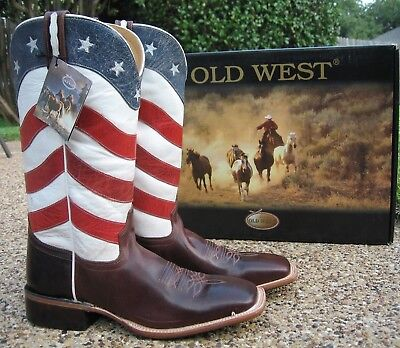 NEW Mens OLD WEST Patriotic Brown/Red, White, Blue Leather Western Cowboy Boots