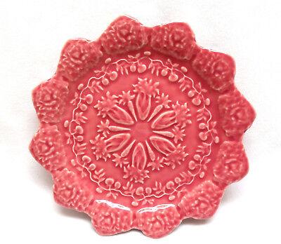 "Bordallo Pinheiro Portugal ""Pink Rabbit"" Majolica Pottery Salad Dessert Plate #3"