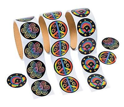 3 Rolls of Rainbow Stickers (300 Stickers) Piece Sign, Flower, Clouds](Rolls Of Stickers)