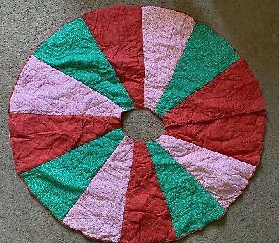 "Vintage Handmade Patchwork Christmas Tree Skirt Quilt 144"" Length 54"" Round"