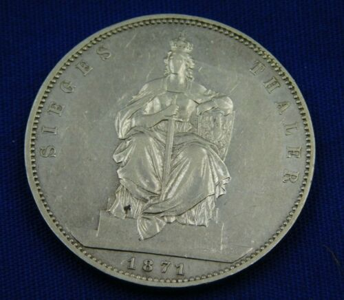 1871-A GERMANY PRUSSIA SILVER THALER COIN (800)