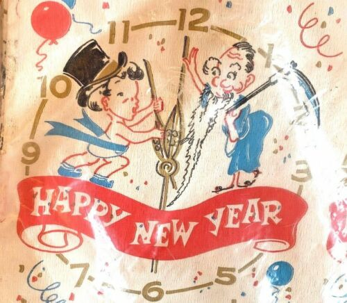 Vintage Happy New Year Paper Party Table Cloth Cover Father Time Mid Century Mod