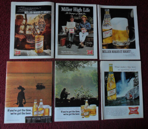 Huge Lot of 68 Different MILLER Beer Magazine Print Ads Clippings ~ High Life ++