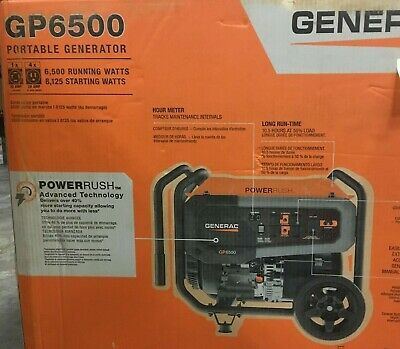 Generac Gp6500 Portable Generator Power Rush Gasoline Powered With Switch Outlet
