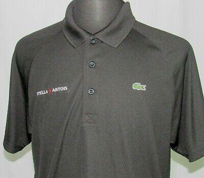 Men's Lacoste Sport 100% Polyester Black Stella Artois Polo Golf Shirt sz 6 / XL