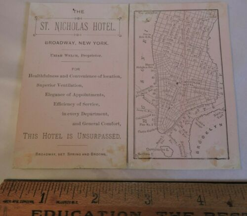 Rare 1880 Engraved St. Nicholas Hotel MAP New York City NYC Trade Card