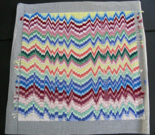 Abstract ZIG ZAG Design Completed Needlepoint vintage Canvas 14 x 14
