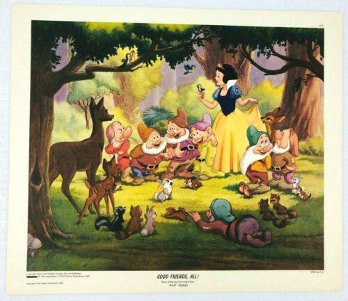 1947 N.Y. Graphic Society Walt Disney Litho Print Snow White Good Friends All