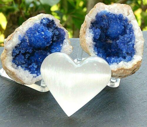 Blue Geode Pair W/Stands Crystal Quartz Gemstone Specimen Dyed Morocco/S. Heart