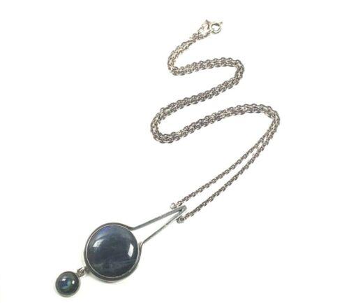 KAUNIS KORU UJK Signed Finland Modernist Sterling Silver Labradorite Necklace