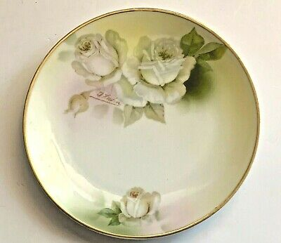 Royal Rudolstadt Prussia Plate Beyer /& Bock Hand Painted Florals Porcelain Gold Gilt Salad Plate Wall Decor Plate Made in the 1930/'s