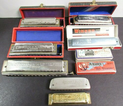 9 Chromonika II,Winner,Marine Band Hohner Vintage Harmonicas Lot Collection