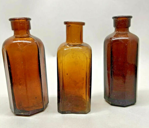 """3 EARLY AMBER MEDICINE BOTTLES, 4"""" TALL"""