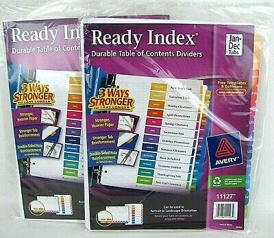 2 Lot Avery 11127 Monthly Jan-dec 12 Tab Table Of Contents Ready Index Dividers