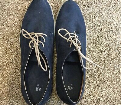 Men's H&M Zara Derby Shoes Dark Blue Suede Size 11.5.  Used