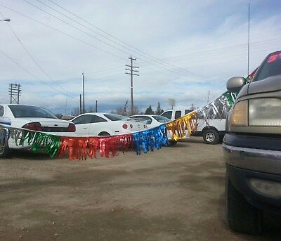 ~CAR DEALER LOT 3 - 60'  (180') METALLIC FRINGE STREAMERS Multi Colored1 - Coloured Streamers