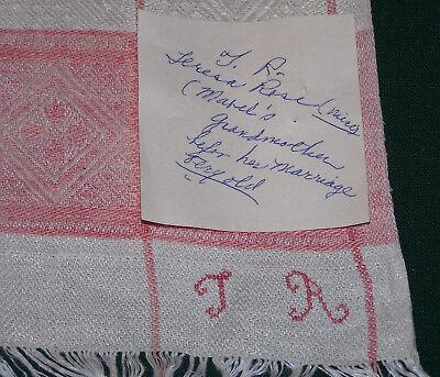 """TURKEY REDWORK ANTIQUE IRISH LINEN DAMASK TOWEL, """"TR"""" MONOGRAM, w/PROVENANCE"""