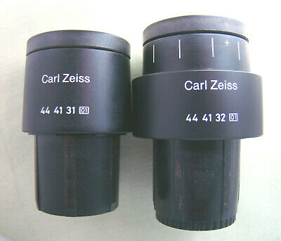 Zeiss Pl 10x18 Microscope Eyepieces Pair With Graticule