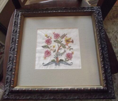Vintage Embroidery Framed Art Bird Floral