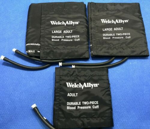 Lot/3 Welch Allyn Durable Two Piece 2 Tube Reusable Cuffs - Adult & Large  G/kp