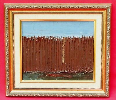 Painting Picket Fence - ISAAC I. MONTEIRO BROWN RUSTIC PICKET FENCE ABSTRACT ART IMPASTO OIL PAINTING