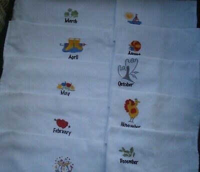 Set of Ten White Cotton Monthly Kitchen Towels Embroidered Months and Theme NEW - Kitchen Themes