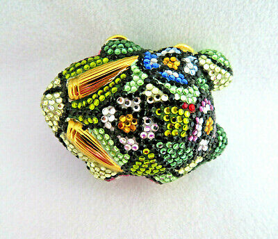 Judith Leiber Swarovski Crystal Floral Frog Pillbox / Trinket Box