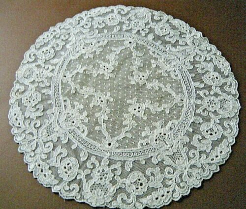"Antique large doily  table dresser top French  Alencon lace 11"" antique design."