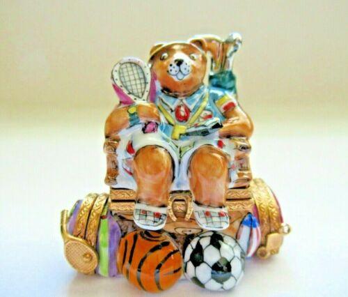 Peint Main Limoges Trinket - All Sports Bear