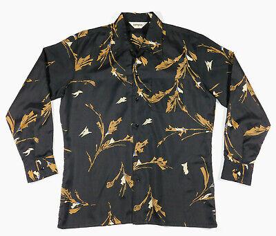 1970s Men's Shirt Styles – Vintage 70s Shirts for Guys Vintage 1970s CAMPUS Long Sleeve Silky Satin Floral Print Disco Dance Shirt L  $24.88 AT vintagedancer.com