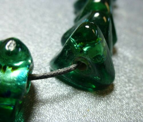 15x8mm green w/multi-color foil inlay Lampwork glass beads 2 st 24/st NOS LJ334