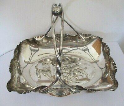Antique 19th century Art Nouveau Silver-plated large Bon bon /cake Dish  Orchid