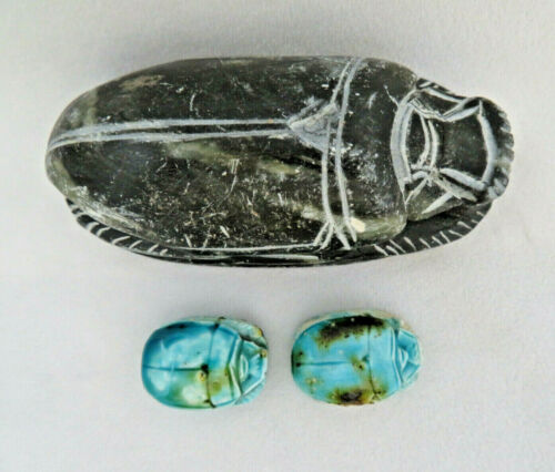 Vintage Carved Soapstone Scarab Paperweight Figurine & 2 Beads ~ Hieroglyphics