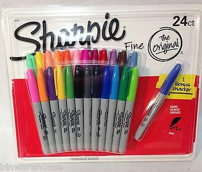 New Sharpie Fine - The Original 24 Count 1 Bonus Pen Multicolored