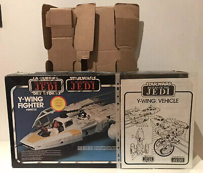 Vintage Star Wars Kenner (1983) ROTJ Tri Logo Y-Wing Box, Insert & Instructions