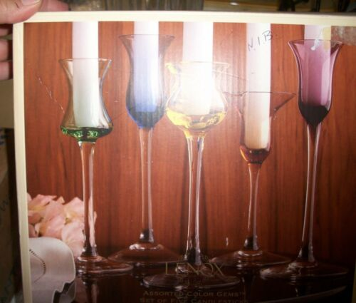 NIB Lenox 5 Assorted Color Gems bubble Glasses Set of 5