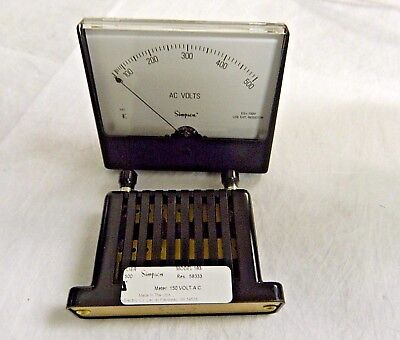 Simpson Electric Panel Meter Analog Ac Voltmeter 10350